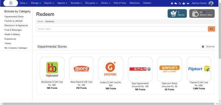 HiFives Employee Rewards and Recognition Platform Screenshot